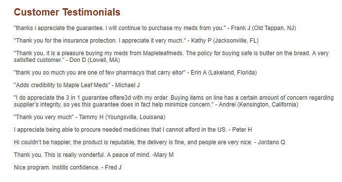 testimonials on the site