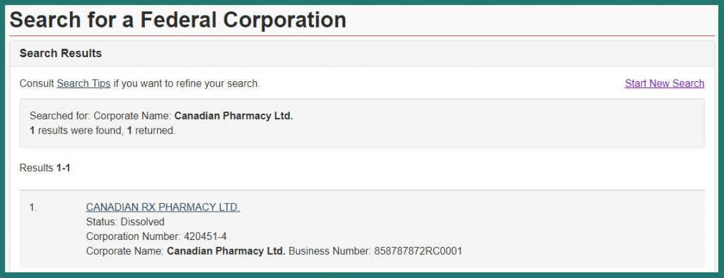 search for Canadian Pharmacy Ltd.